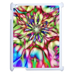 Magic Fractal Flower Multicolored Apple Ipad 2 Case (white) by EDDArt