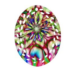 Magic Fractal Flower Multicolored Oval Filigree Ornament (two Sides) by EDDArt
