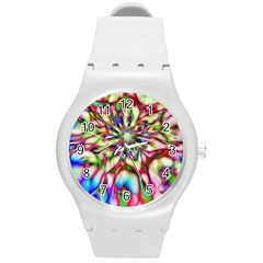 Magic Fractal Flower Multicolored Round Plastic Sport Watch (m) by EDDArt
