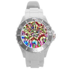 Magic Fractal Flower Multicolored Round Plastic Sport Watch (l) by EDDArt