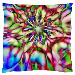 Magic Fractal Flower Multicolored Large Cushion Case (one Side) by EDDArt