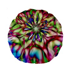 Magic Fractal Flower Multicolored Standard 15  Premium Round Cushions by EDDArt