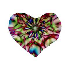 Magic Fractal Flower Multicolored Standard 16  Premium Heart Shape Cushions by EDDArt