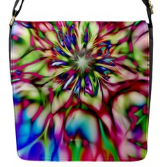 Magic Fractal Flower Multicolored Flap Messenger Bag (s) by EDDArt