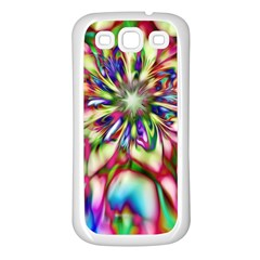 Magic Fractal Flower Multicolored Samsung Galaxy S3 Back Case (white) by EDDArt