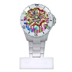 Magic Fractal Flower Multicolored Plastic Nurses Watch by EDDArt