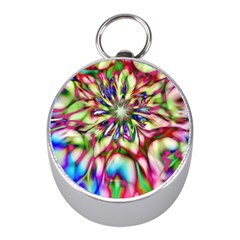 Magic Fractal Flower Multicolored Mini Silver Compasses by EDDArt