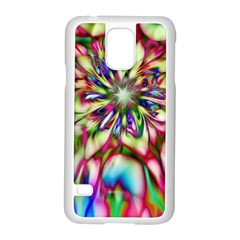 Magic Fractal Flower Multicolored Samsung Galaxy S5 Case (white) by EDDArt