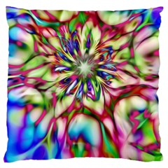 Magic Fractal Flower Multicolored Large Flano Cushion Case (one Side) by EDDArt