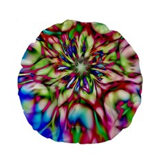 Magic Fractal Flower Multicolored Standard 15  Premium Flano Round Cushions by EDDArt