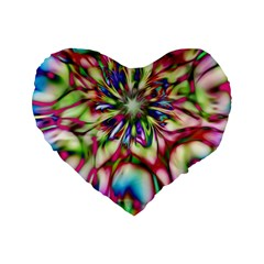 Magic Fractal Flower Multicolored Standard 16  Premium Flano Heart Shape Cushions by EDDArt