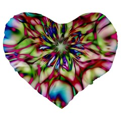 Magic Fractal Flower Multicolored Large 19  Premium Flano Heart Shape Cushions by EDDArt
