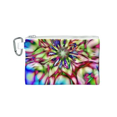 Magic Fractal Flower Multicolored Canvas Cosmetic Bag (s) by EDDArt