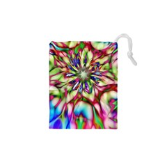Magic Fractal Flower Multicolored Drawstring Pouches (xs)  by EDDArt
