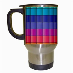 Pattern Grid Squares Texture Travel Mugs (white) by Amaryn4rt