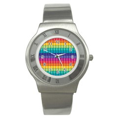 Pattern Grid Squares Texture Stainless Steel Watch by Amaryn4rt