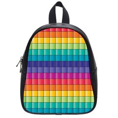 Pattern Grid Squares Texture School Bags (small)  by Amaryn4rt