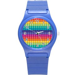 Pattern Grid Squares Texture Round Plastic Sport Watch (s) by Amaryn4rt