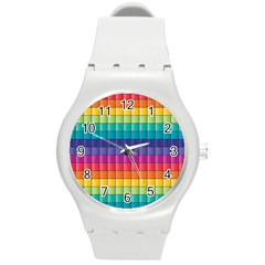 Pattern Grid Squares Texture Round Plastic Sport Watch (m) by Amaryn4rt