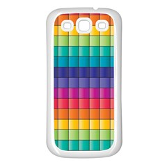 Pattern Grid Squares Texture Samsung Galaxy S3 Back Case (white) by Amaryn4rt