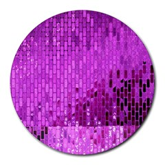 Purple Background Scrapbooking Paper Round Mousepads by Amaryn4rt