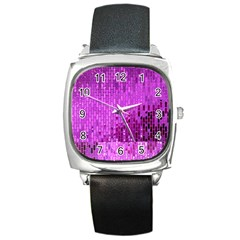 Purple Background Scrapbooking Paper Square Metal Watch by Amaryn4rt