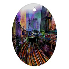 Downtown Chicago Ornament (oval) by Amaryn4rt