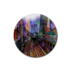 Downtown Chicago Rubber Coaster (round)  by Amaryn4rt