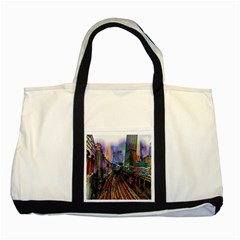 Downtown Chicago Two Tone Tote Bag by Amaryn4rt