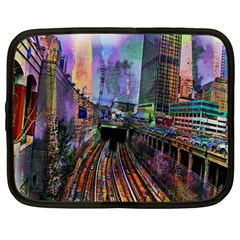 Downtown Chicago Netbook Case (large) by Amaryn4rt