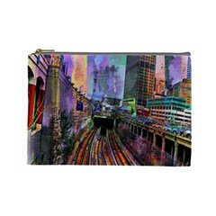 Downtown Chicago Cosmetic Bag (large)  by Amaryn4rt