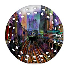 Downtown Chicago Round Filigree Ornament (two Sides) by Amaryn4rt