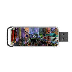 Downtown Chicago Portable Usb Flash (two Sides) by Amaryn4rt