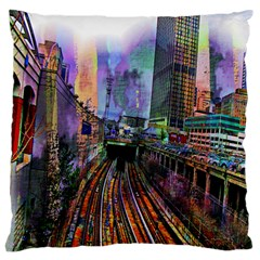 Downtown Chicago Large Flano Cushion Case (two Sides) by Amaryn4rt