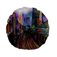 Downtown Chicago Standard 15  Premium Flano Round Cushions by Amaryn4rt