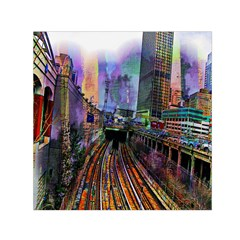 Downtown Chicago Small Satin Scarf (square) by Amaryn4rt