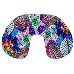 Wallpaper Created From Coloring Book Travel Neck Pillows by Amaryn4rt