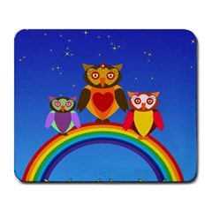Owls Rainbow Animals Birds Nature Large Mousepads by Amaryn4rt