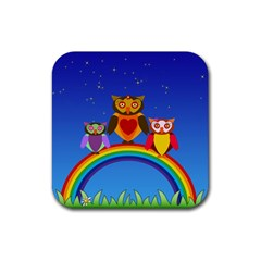 Owls Rainbow Animals Birds Nature Rubber Coaster (square)  by Amaryn4rt