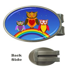 Owls Rainbow Animals Birds Nature Money Clips (oval)  by Amaryn4rt