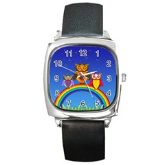 Owls Rainbow Animals Birds Nature Square Metal Watch by Amaryn4rt