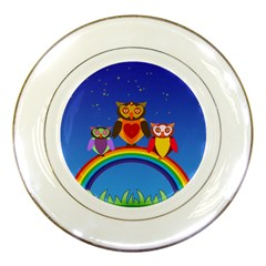 Owls Rainbow Animals Birds Nature Porcelain Plates by Amaryn4rt