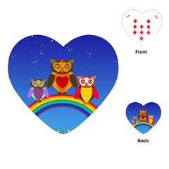 Owls Rainbow Animals Birds Nature Playing Cards (heart)  by Amaryn4rt