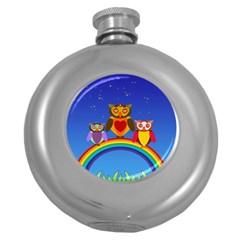 Owls Rainbow Animals Birds Nature Round Hip Flask (5 Oz) by Amaryn4rt