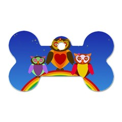 Owls Rainbow Animals Birds Nature Dog Tag Bone (two Sides)
