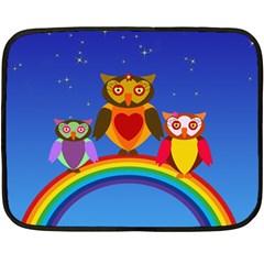 Owls Rainbow Animals Birds Nature Fleece Blanket (mini) by Amaryn4rt