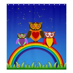 Owls Rainbow Animals Birds Nature Shower Curtain 66  X 72  (large)  by Amaryn4rt