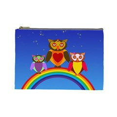 Owls Rainbow Animals Birds Nature Cosmetic Bag (large)  by Amaryn4rt