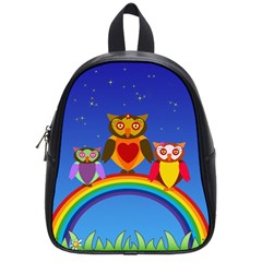 Owls Rainbow Animals Birds Nature School Bags (small)  by Amaryn4rt