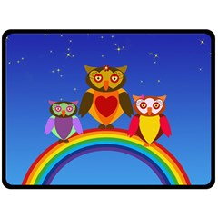 Owls Rainbow Animals Birds Nature Fleece Blanket (large)  by Amaryn4rt